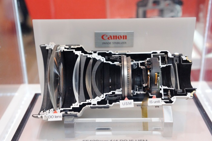 A sectional view through a Canon 400mm DO lens.